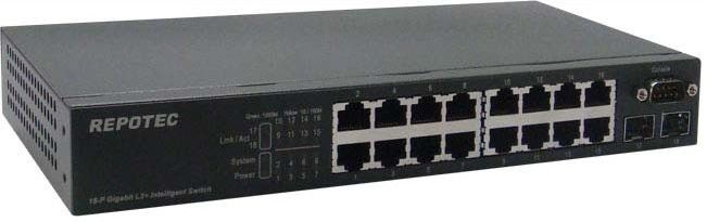 16-P 1000T + 2-SFP(100/1G) slot L2+ Managed Switch, rack kit | REPOTEC | RP-G1802I+/L